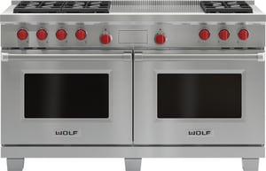 Wolf Range 60-1/8 in. 9 cf 6-Burner Dual Fuel French Top Freestanding Convection Range (Propane) in Stainless Steel WDF606FLP
