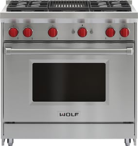 Wolf Range 36 in. 4-Burners Natural Gas Range With Grill WGR364C