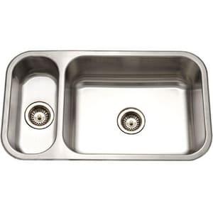 Houzer Elite® Series Stainless Steel Double Bowl Stainless Steel Undermount Kitchen Sink in Lustrous Satin Stainless Steel HEHD31181
