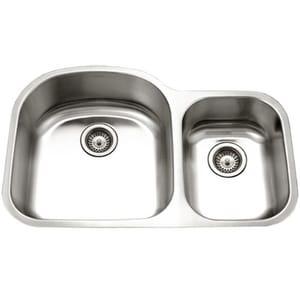 Houzer Eston Series Stainless Steel Double Bowl Stainless Steel Undermount Kitchen Sink in Lustrous Satin Stainless Steel HSTC2200SR1