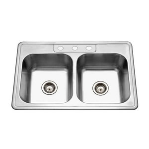 Houzer Glowtone Series 3 Hole Stainless Steel Double Bowl Self-Rimming and Drop-in Kitchen Sink in Lustrous Satin Stainless Steel H33228BS31
