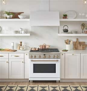 General Electric Appliances Café™ Series 35-1/4 x 30-3/4 in. 5.75 cf Sealed Gas and Electric Freestanding Range in Matte White GC2Y366P4MW2