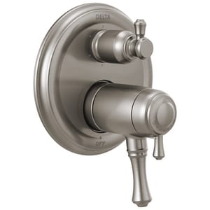 Delta Faucet Cassidy™ Valve Trim with 6-Settings Integrated Diverter and Double Lever Handle in Brilliance Stainless DT27T997SS