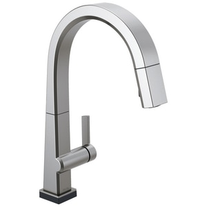 Delta Faucet Pivotal Single Handle Pull Down Kitchen Faucet in Arctic Stainless D9193TARDST