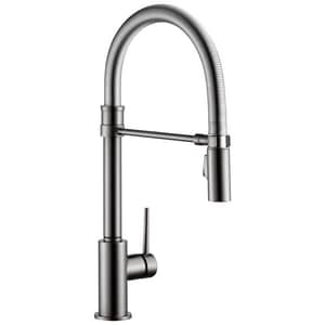 Delta Faucet Trinsic Single Handle Pull Down Kitchen Faucet in Black Stainless D9659KSDST