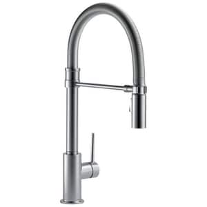 Delta Faucet Trinsic Single Handle Pull Down Kitchen Faucet in Arctic Stainless D9659ARDST
