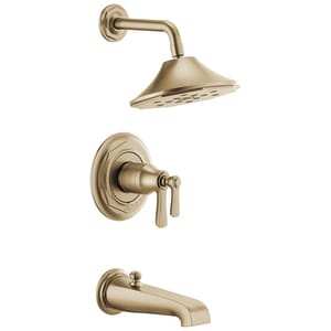 Brizo Rook Single Handle Multi Function Bathtub & Shower Faucet in Luxe Gold (Trim Only) DT60461GL