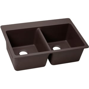 Elkay Quartz Luxe® 33 x 22 in. No Hole Composite Double Bowl Drop-in Kitchen Sink in Chestnut EELX3322CN0