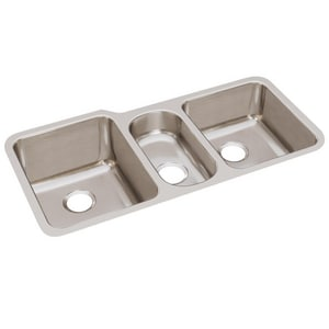 Elkay Lustertone™ Classic 40 x 20-1/2 in. No Hole Stainless Steel Triple Bowl Undermount Kitchen Sink in Lustrous Satin EELUH4020