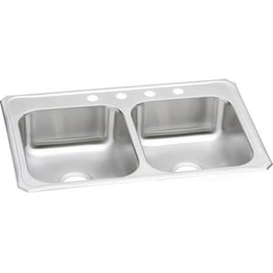 Elkay Celebrity 33 x 22 in. 4 Hole Stainless Steel Double Bowl Drop-in Kitchen Sink in Brushed Satin ECR33224