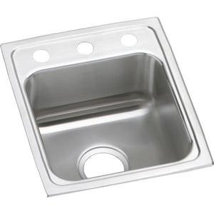 Elkay Gourmet® Single Bowl Top Mount Bar Sink in Lustrous Highlighted Satin ELRAD1316652