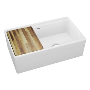 Elkay 33 x 20 in. No Hole Fireclay Double Bowl Apron Front Kitchen Sink in White ESWUF3320WH