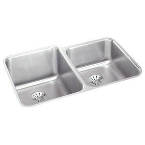Elkay Lustertone™ Classic 31-1/4 x 20-1/2 in. No Hole Stainless Steel Double Bowl Undermount Kitchen Sink in Lustertone EELUHAD312050RPD