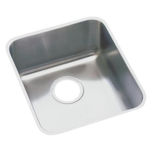 Elkay Lustertone™ Classic 18-1/2 x 18-1/2 in. No Hole Stainless Steel Single Bowl Undermount Kitchen Sink in Lustertone EELUHAD161655