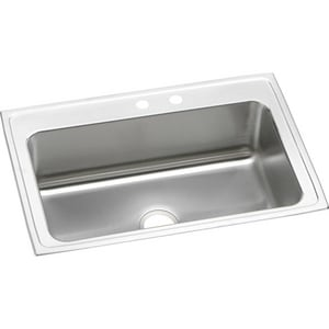 Elkay Gourmet® 2 Hole Single Bowl Top Mount Kitchen Sink with Center Drain in Lustrous Highlighted Satin EDLRS332210MR2