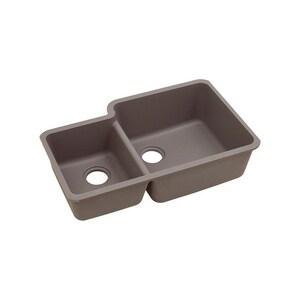 Elkay Quartz Classic® 33 x 20-11/16 in. No Hole Composite Double Bowl Undermount Kitchen Sink in Greige EELGOU3321LGR0