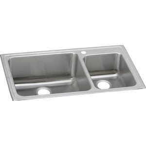 Elkay Gourmet® 1 Hole Stainless Steel Double Bowl Top Mount Kitchen Sink with Rear Center Drain in Lustrous Highlighted Stainless Steel Satin Stainless Steel ELFGR37221