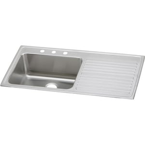 Elkay Gourmet® 1 Hole Single Bowl Top Mount Kitchen Sink in Lustrous Highlighted Satin EILGR4322L1
