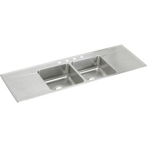 Elkay Gourmet® 1-Hole 2-Bowl Self-rimming or Drop-in Kitchen Sink in Lustertone EILR6622DD1
