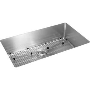 Elkay Crosstown® 30-1/2 x 18-1/2 in. No Hole Stainless Steel Single Bowl Undermount Kitchen Sink in Polished Satin EEFRU2816TC