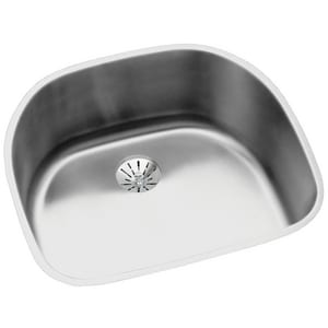 Elkay Lustertone™ Classic 23-5/8 x 21-1/4 in. No Hole Stainless Steel Single Bowl Undermount Kitchen Sink in Lustrous Satin EELUH211810PD