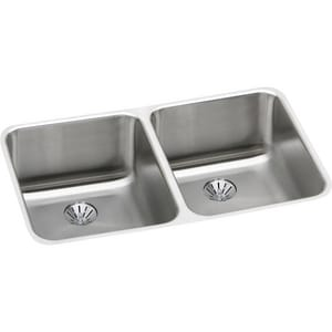Elkay Lustertone™ Classic 30-3/4 x 18-1/2 in. No Hole Stainless Steel Double Bowl Undermount Kitchen Sink in Lustrous Satin EELUH311810PD