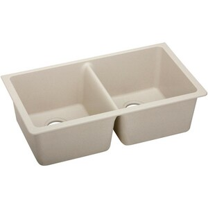 Elkay Quartz Classic® 33 x 18-1/2 in. No Hole Composite Double Bowl Undermount Kitchen Sink in Putty EELGU3322PT0