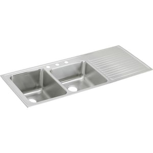 Elkay Gourmet® 4-Hole 2-Bowl Self-rimming or Drop-in Kitchen Sink with Ribbed Drain Board in Lustertone EILGR5422L4