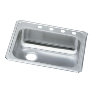 Elkay Celebrity 25 x 21-1/4 in. 4 Hole Stainless Steel Single Bowl Drop-in Kitchen Sink in Brushed Satin EGECR2521L4