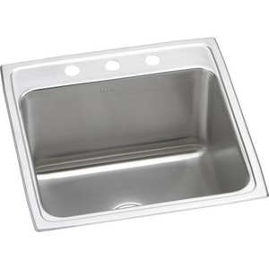 Elkay Lustertone™ Classic 22 x 22 in. 3 Hole Stainless Steel Single Bowl Drop-in Kitchen Sink in Lustrous Satin EDLR2222123