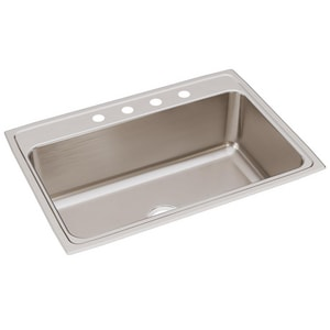 Elkay Lustertone™ Classic 31 x 22 in. 4 Hole Stainless Steel Single Bowl Drop-in Kitchen Sink in Lustrous Satin EDLR3122104