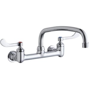 Elkay Two Handle Wristblade Wall Mount Food Service Faucet in Polished Chrome ELK940AT14T4H