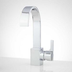 Signature Hardware Ultra Single Handle Monoblock Bathroom Sink Faucet in Chrome SH350475