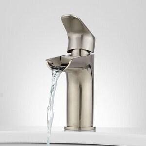 Signature Hardware Pagosa Single Handle Monoblock Bathroom Sink Faucet in Brushed Nickel SH404251