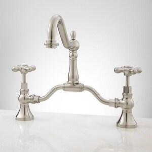 Signature Hardware Elnora Two Handle Bridge Bathroom Sink Faucet in Brushed Nickel SH320458