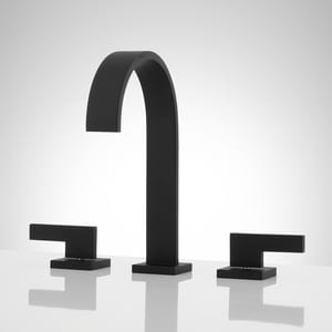Signature Hardware Ultra Two Handle Widespread Bathroom Sink Faucet in Matte Black SH445933