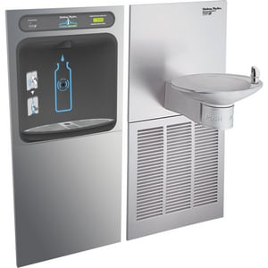 Halsey Taylor HydroBoost™ 8 gph Water Cooler with In-Wall Recessed Bottle Filling Station HHTHBWFOVLERGRN