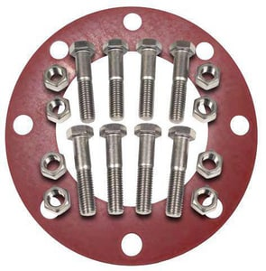 FNW® 1-1/2 in Zinc Plated Carbon Steel and Red Rubber Full Face Nut, Bolt, and Gasket Kit FNWNBGZ1RF8J