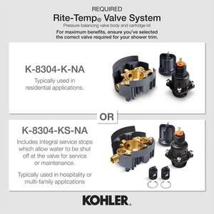 KOHLER Purist® Pressure Balancing Valve Trim with Single Cross Handle in Matte Black KTS14423-3-BL