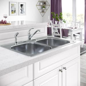 PROFLO® Single Handle Kitchen Faucet with Side Spray and Deck Plate in Polished Chrome PFXC4111CP