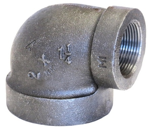3/4 x 1/2 in. Threaded 300# Black Malleable Iron 90 Degree Elbow B3009FD