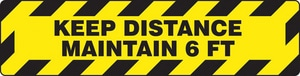 Accuform Signs Slip-Gard™ 6 x 24 in. Keep Distance Maintain 6 FT Sign APSR290