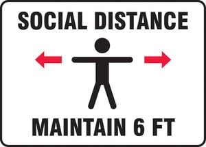 Accuform Signs 7 x 10 in. Vinyl Maintain Social Distance Safety Poster AMGNF540VS