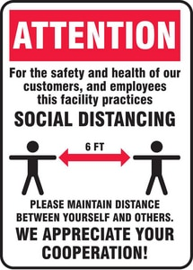 Accuform Signs 10 x 7 in. Vinyl Attention Social Distancing Cooperation Sign AMGNG901VS