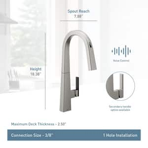 Moen Nio™ Single Handle Pull Down Sensor Kitchen Faucet in Black Stainless Steel MS75005EVBLS