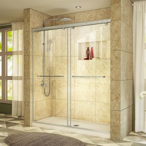 DreamLine Charisma 78-3/4 x 60 in. Frameless Sliding Shower Door with Base Kit in Brushed Nickel with Biscuit DDL6941C2204
