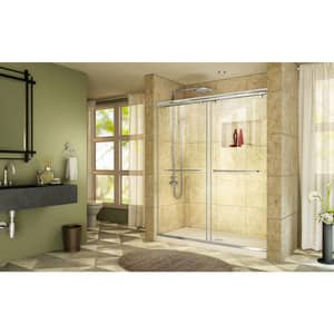 DreamLine Charisma 78-3/4 x 60 in. Frameless Sliding Shower Door with Base Kit in Chrome with Biscuit DDL6943C2201