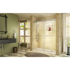 DreamLine Charisma 78-3/4 x 60 in. Frameless Sliding Shower Door with Base Kit in Brushed Nickel with Biscuit DDL6942R2204