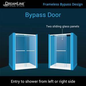 DreamLine Charisma 78-3/4 x 60 in. Frameless Sliding Shower Door with Base Kit in Brushed Nickel with Biscuit DDL6942L2204