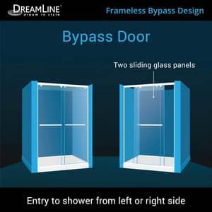DreamLine Charisma 78-3/4 x 60 in. Frameless Sliding Shower Door with Base Kit in Brushed Nickel with Biscuit DDL6943L2204